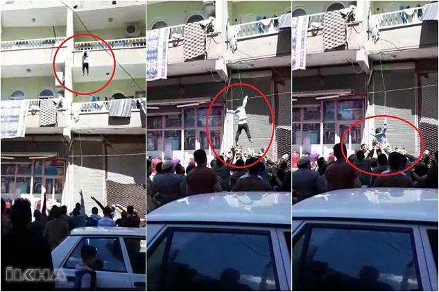 Balkondan düşen çocuğu vatandaşlar yakaladı