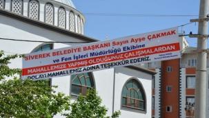 Ayvanat Mahallesi Muhtarı'ndan Başkan Çakmak'a pankartlı teşekkür