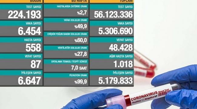 Coronavirus'ten son 24 saatte 87 kişi vefat etti