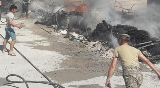 Şanlıurfa'da çadır kentte yangın çıktı