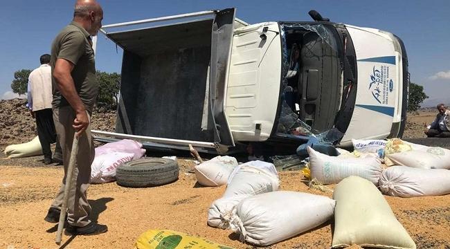 Siverek'te buğday yüklü pikap devrildi: 2 yaralı